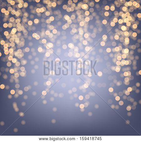 Festive purple and golden luminous background. Vector illustration.