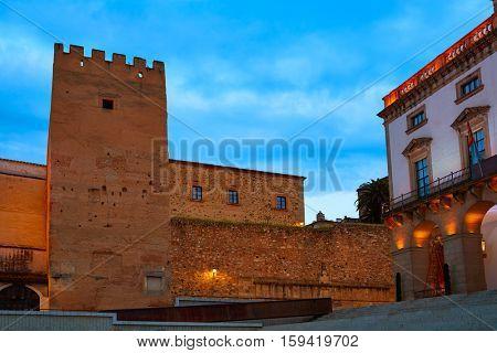 Caceres Plaza Mayor square Torre de la Hierba tower in Extremadura of Spain
