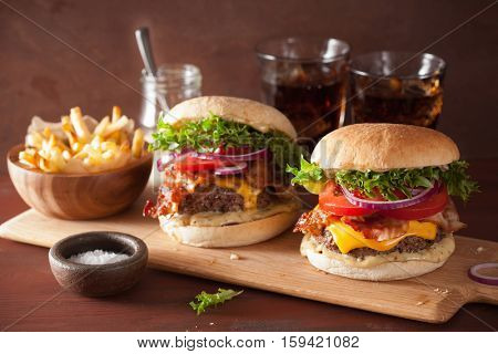 bacon cheese burger with beef patty tomato onion