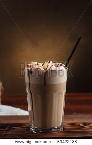 Hot Latte With Marshmallows And Sugar