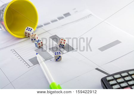 business analysing,probability,statistics,math,gambling,etc with stat papers,histograms,fluctuated historam,calculator,pointer pen and dice gambling.