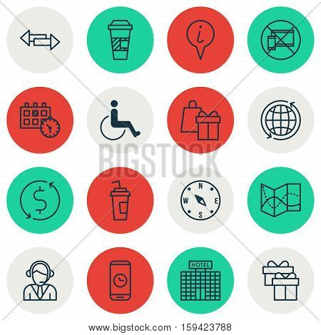 Set Of Traveling Icons On Call Duration, Operator And Shopping Topics. Editable Vector Illustration. Includes Mobile, Crossroad, World And More Vector Icons.