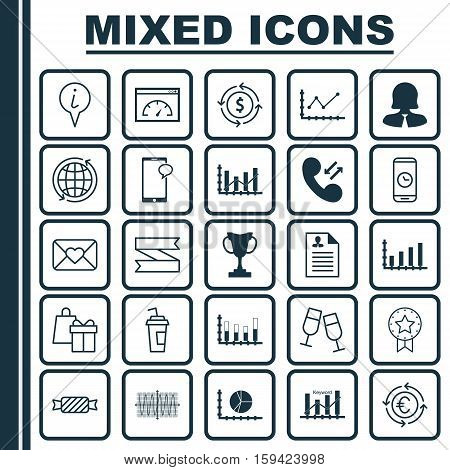 Set Of 25 Universal Editable Icons. Can Be Used For Web, Mobile And App Design. Includes Icons Such As Changes Graph, Money Recycle, Cellular Data And More.