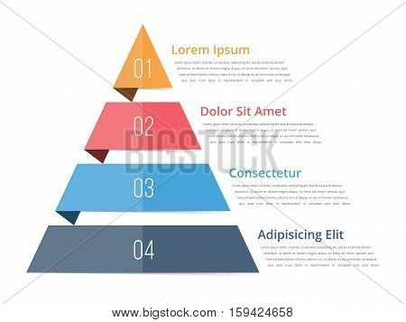 Pyramid chart template pyramid, infographics, four steps infographics, vector eps10 illustration