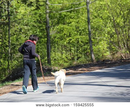Boy Running Down The Road With His Dog Labrador Retriever