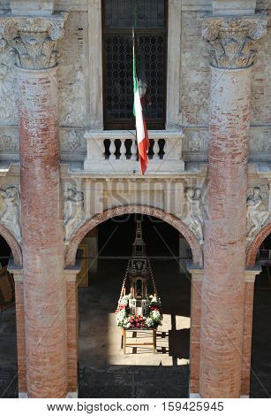 Porch And Walls Of The Town Hall Of The City Of Vicenza