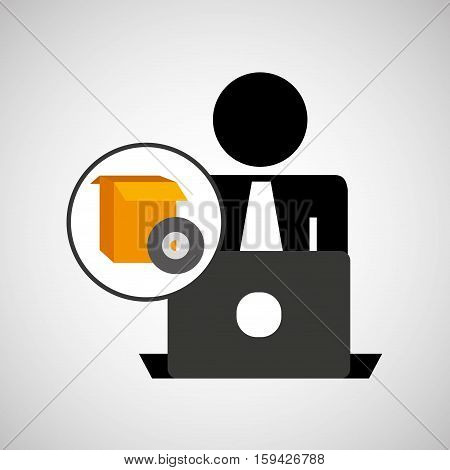 silhouette programmer working laptop gear setting vector illustration eps 10