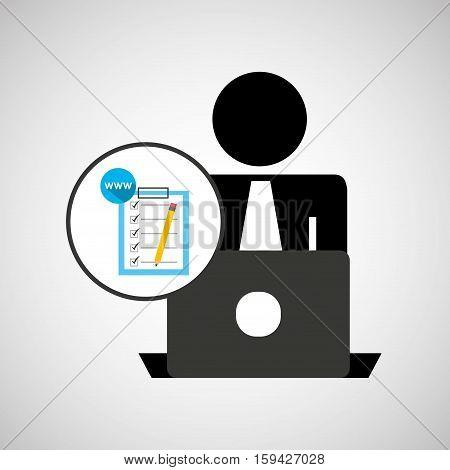 silhouette programmer working laptop www checklist vector illustration eps 10