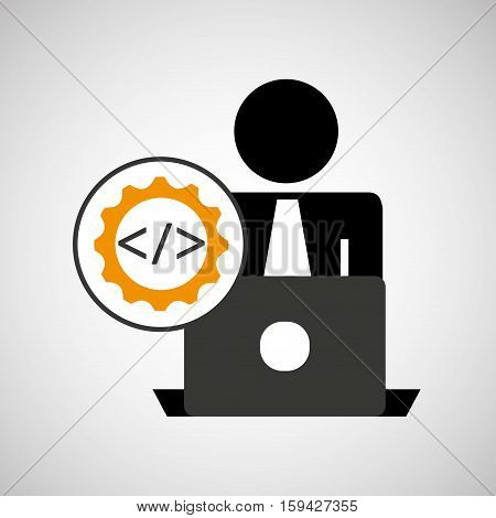 silhouette programmer working laptop coding icon vector illustration eps 10