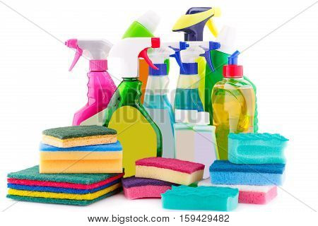 Chemical cleaning supplies isolated on white background.