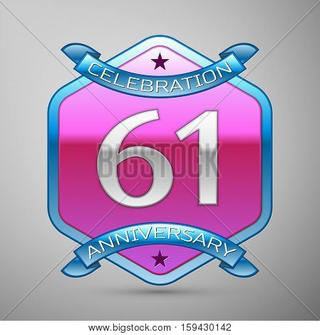 Sixty one years anniversary celebration silver logo with blue ribbon and purple hexagonal ornament on grey background.