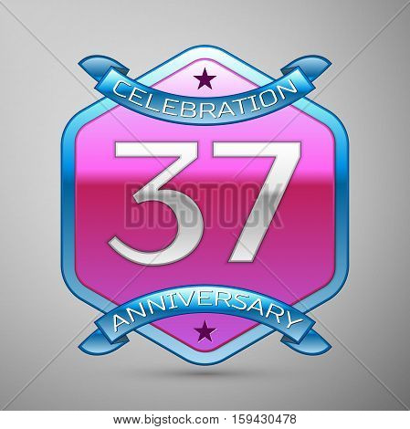 Thirty seven years anniversary celebration silver logo with blue ribbon and purple hexagonal ornament on grey background.