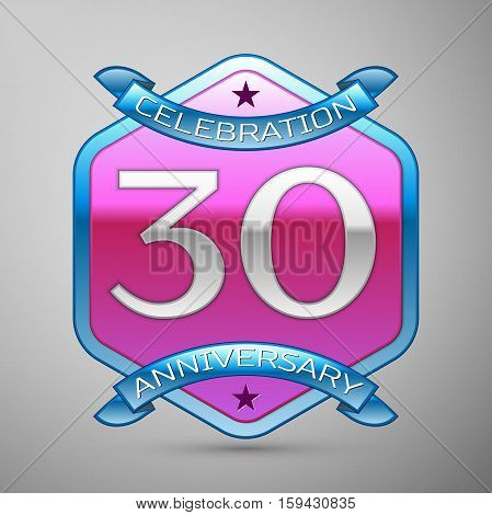 Thirty years anniversary celebration silver logo with blue ribbon and purple hexagonal ornament on grey background.