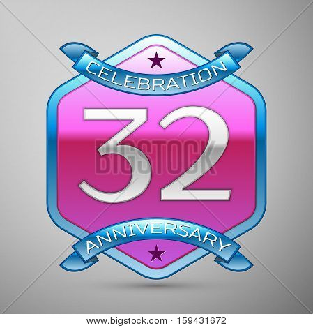 Thirty two years anniversary celebration silver logo with blue ribbon and purple hexagonal ornament on grey background.