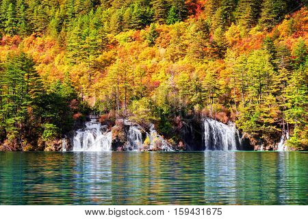 Scenic View Of Waterfalls And Lake With Crystal Clear Water