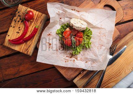 Vegetable Salad Served On Paper