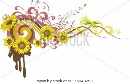 Abstract floral design with flowers and a humming bird, vector illustration series.