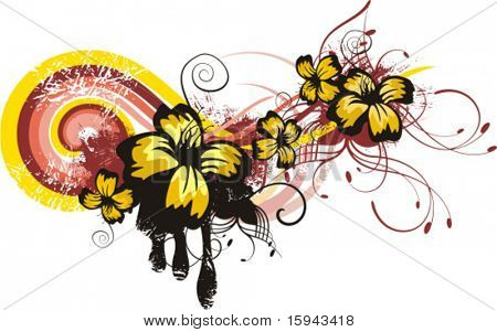 Abstract floral design with flowers, leafs and grunge details, vector illustration series.