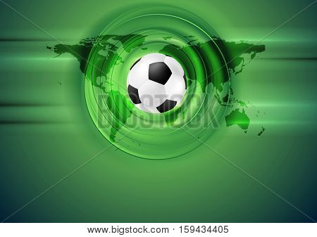 Green football abstract background with world map