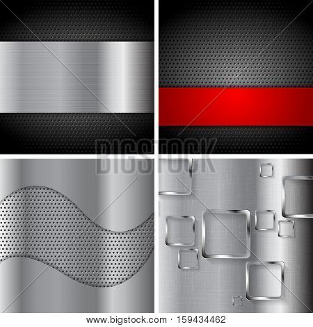 Tech abstract silver metal backgrounds collection