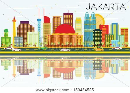 Jakarta Skyline with Color Buildings, Blue Sky and Reflections. Business Travel and Tourism Concept with Modern Buildings. Image for Presentation and Banner.