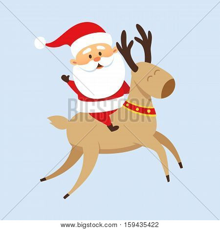 Santa Claus Christmas illustration. Santa Claus rides a reindeer. Christmas character design. Santa Clause travel. Funny Father Frost