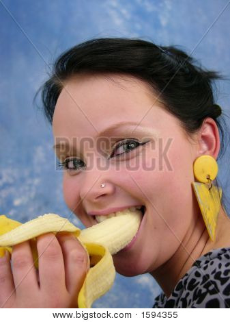 Cute Girl Swallowing Fruits