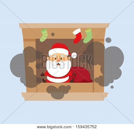 Santa Claus Christmas illustration. Santa Claus falls down the chimney and fell into the fireplace . Christmas character design. Father Frost
