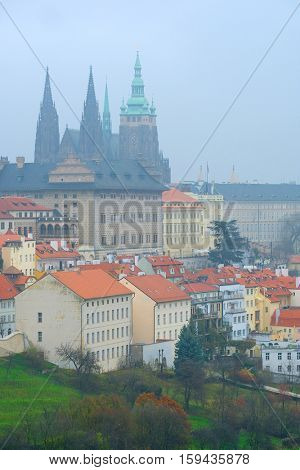 Panorama of an old Prague with St. Vitus Cathedral and Prague Castle, Czechia