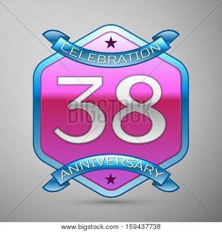Thirty eight years anniversary celebration silver logo with blue ribbon and purple hexagonal ornament on grey background.