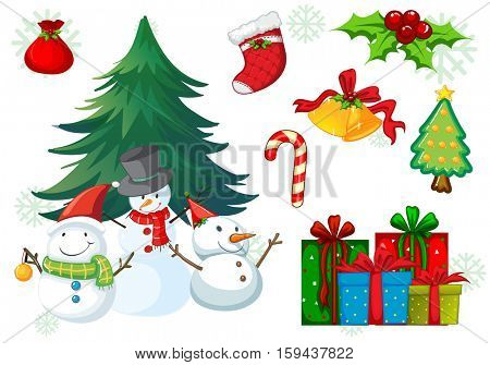 Christmas theme with snowman and presents illustration