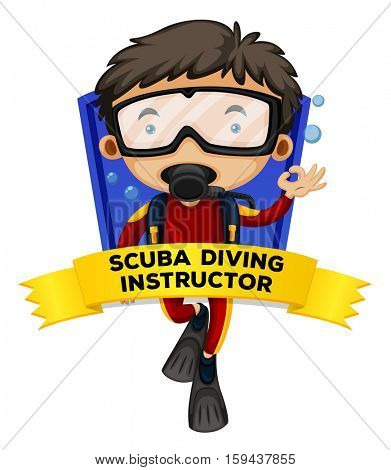 Occupation wordcard with scuba diving instructor illustration