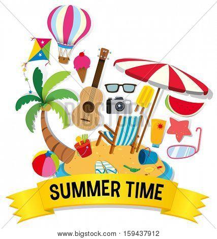 Summer theme with beach items on island illustration