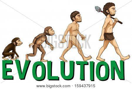 Font design with word evolution illustration