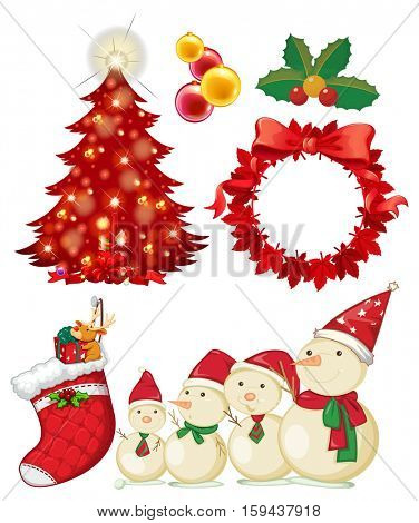 Christmas theme with snowman and ornaments illustration