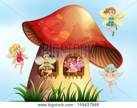 Five fairies flying in mushroom garden illustration