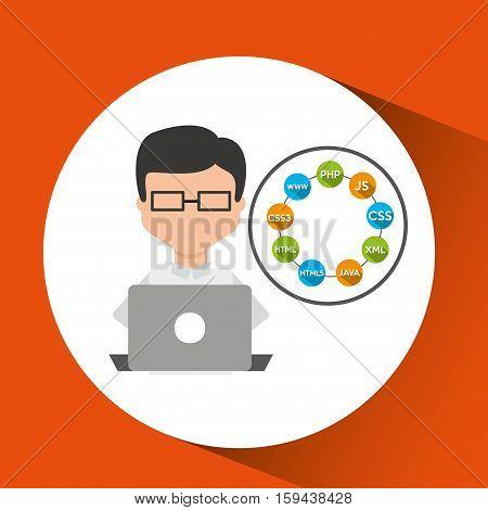 programmer languages working laptop vector illustration eps 10