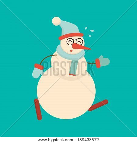 Christmas snowman running hard and getting tired. Cute cartoon cheerful and smiling snow man character in a hurry. Xmas holiday flat style vector illustration