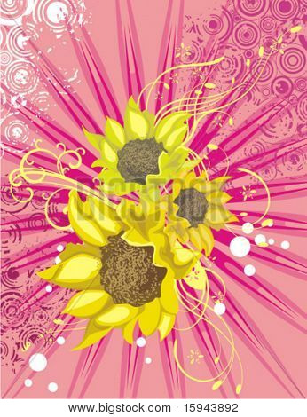 Floral background with sunflowers, light rays and grunge details, vector illustration series.