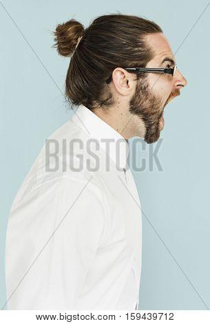 Man Scream Shouting Furious Portrait Concept