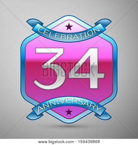 Thirty four years anniversary celebration silver logo with blue ribbon and purple hexagonal ornament on grey background.