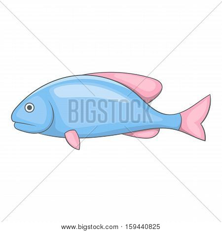 Blue fish with pink fins icon. Cartoon illustration of blue fish with pink fins vector icon for web
