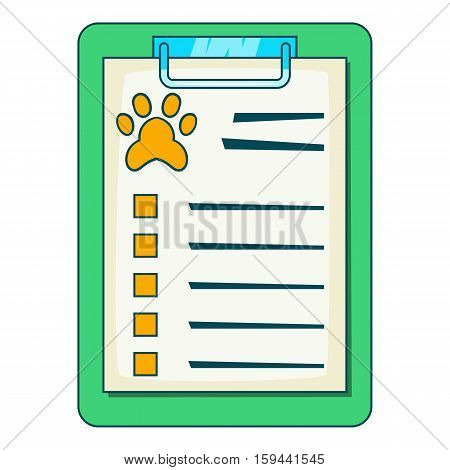 Pet medical record on clipboard icon. Cartoon illustration of Pet medical record on clipboard vector icon for web