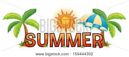 Font design for word summer illustration