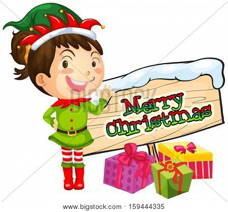 Girl and merry christmas sign illustration
