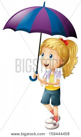 Happy girl holding umbrella illustration
