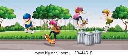 Four kids skateboarding in park illustration