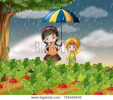 Kids in the garden when it is raining illustration
