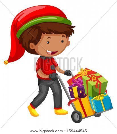 Man delivering presents for christmas illustration