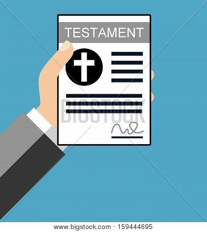 Hand holding Testament paper - Flat Design